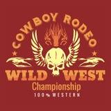 Löst västra - cowboyrodeo isolerad vektorwhite för 8 emblem eps stock illustrationer