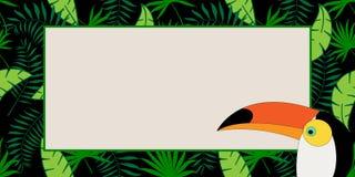Löst vektorbaner med tropiska växter, tukan i en trend vektor illustrationer