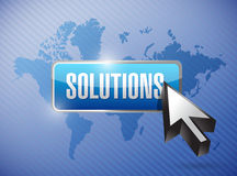 Lösungen Knopf und Cursor über einer Weltkarte Lizenzfreies Stockfoto