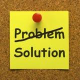 Lösungs-Anmerkung, die Ausführung und Erfolg zeigt stockbild
