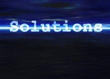 Lösungs-Text auf blauem hellem Ozean-Seehorizont Stockbild