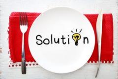 Lösungskonzept auf weißer Platte mit Gabel und Messer Lizenzfreies Stockbild