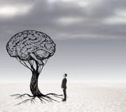 Lösungskonzept mit Gehirn und Geschäftsmann Stockfotografie
