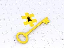 Lösungskonzept mit Puzzlespielstücken und -taste Stockfotografie