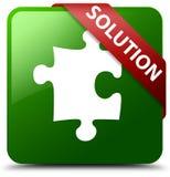 Lösungspuzzlespielikonengrün-Quadratknopf Stockfotografie