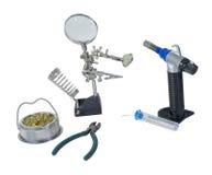 Lötwerkzeuge einschließlich Fackel Stockfoto