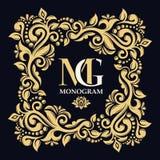lövrik prydnad Monogram initialer, smycken Vektorlogomallar red för guld för ram för bakgrundsfärg mörk dekorativ stock illustrationer