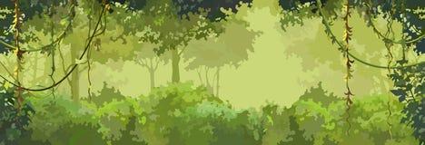 Lövrik skog för bakgrundstecknad filmgräsplan med lianer arkivfoton