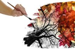 Lövverk för handmålninghöst Fotografering för Bildbyråer