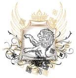 Löwe auf Rolle Abzeichen Lizenzfreies Stockbild