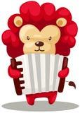 Löwe, der Akkordeon spielt lizenzfreie abbildung