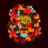 Löwe, der aus den Blumen besteht Lizenzfreies Stockbild