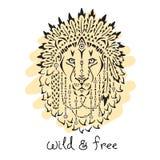 Löwe in der Kriegsmütze, Tierillustration, gebürtig lizenzfreie abbildung