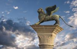 Löwe der Str.-Markierung, Venedig Stockfotografie
