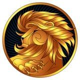 Löwe, ein goldenes Sternzeichen, Vektorhoroskopsymbol lizenzfreie abbildung