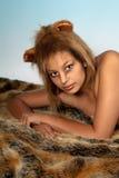 Löwe-Frau Stockfotos