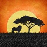 Löwe gemacht von aufbereitetem Papierhintergrund Stockbilder