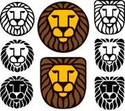 Löwe-Köpfe - Set von acht Stockfoto