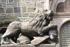 Löwe mit Ritterrüstung Stockbilder