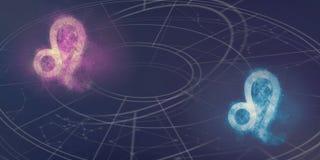 Löwe- und Löwe-Horoskopzeichenkompatibilität Abstraktes Ba des nächtlichen Himmels Lizenzfreies Stockfoto