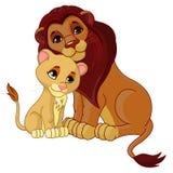 Löwe und Junges zusammen Stockbild
