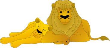 Löwe und Löwin lizenzfreie abbildung