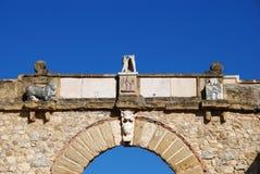 Löwe und Schloss auf Giants wölben sich, Antequera Stockfoto