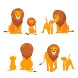 Löwe- und Sohnfamilienvektorillustration Glücklicher Vatertag Karikatursafaripostkarte Lizenzfreies Stockbild