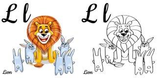 Löwe Vektoralphabetbuchstabe L, Färbungsseite Stockfotos
