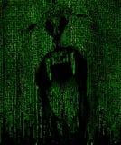 Löwebrüllengesicht in einem Matrixhintergrund Stockfoto