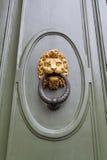 Löwehauptklopfer auf grüner Tür in Florenz Lizenzfreies Stockbild