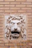 Löwehauptpfostenkasten Stockfoto