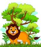Löwekarikatur mit Waldhintergrund Stockbild