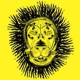 Löwekopf auf gelbem Hintergrund Vektor Abbildung