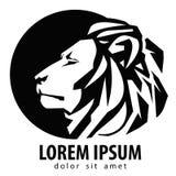 Löwelogo-Designschablone Ikone der wild lebenden Tiere oder des Zoos Stockbild