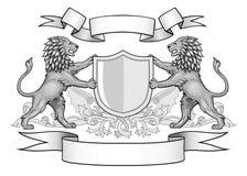 Löwen mit Schild-und Fahnen-Emblem Stockfoto