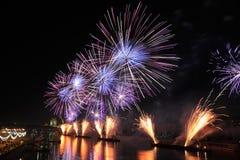 Löwenzahn des Feuers - Feuerwerke öffnet Kreis des hellen Festivals Stockfoto