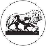 Löweskulptur-Vektorikone vom russischen Marksteinsatz St Petersburg lizenzfreie abbildung