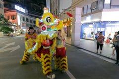 Löwetanzshow von 2016 Volkskulturfestival des zwischenstaatlichen (Xiamen) Gottes der alten Stadt Stockfotos
