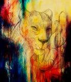 Löwin mit Blume, Bleistift-Zeichnung Farbeffekt und Computercollage Lizenzfreie Stockfotografie