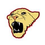 Löwin Roar Logo Illustration lizenzfreie abbildung