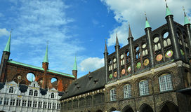Lübeck: City Hall and Market Square. The historical City Hall and Market Square in the hansa town Lübeck Stock Image
