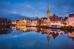 Lübeck, Duitsland tijdens Kerstmis royalty-vrije stock afbeelding