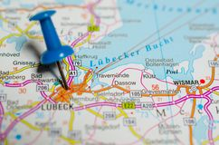 Lübeck on map. Macro shot of Lübeck on map with push pin Royalty Free Stock Photography