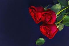Lüge mit drei roten Rosen auf blauem Gewebe Stockfoto