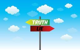 Lüge und wahres Zeichen Stockfoto