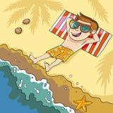 Lügen auf dem Strand Stockfoto