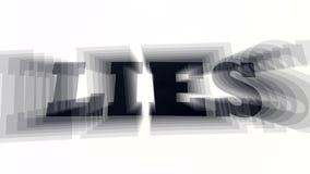 Lügen buchstabierten heraus auf weißem Hintergrund mit Effekt Abstrakter Begriff des Lügens oder des Erzählens Gegenteil von wahr stock video footage