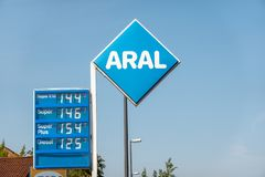Aral petrol station with price list and prices for different types of fuel for sale. Lüneburg, Lower Saxony, Germany, August 30., 2018: Aral petrol station stock image