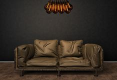 Lüpfen Sie Innenspott herauf Foto Ledernes Sofa Browns und unbedeutender Glanz mit Tesla-Lampen Hintergrund-Foto mit Kopien-Raum vektor abbildung